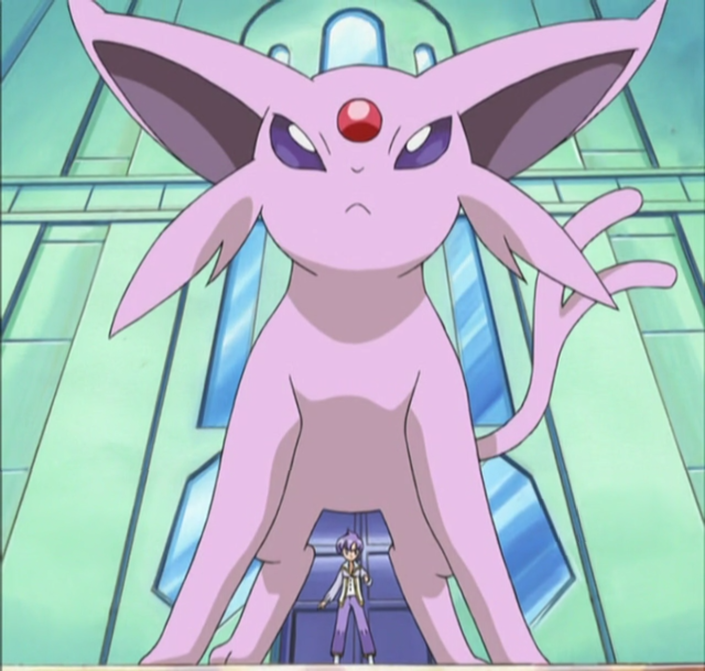 Espeon, Anabel's favourite Pokémon, was used against Ash in his rematch against Anabel.
