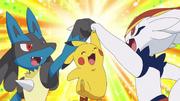 Ash Pikachu, Ash Lucario and Goh Cinderace