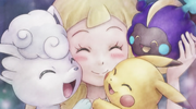Lillie with Snowy, Pikachu and Nebby