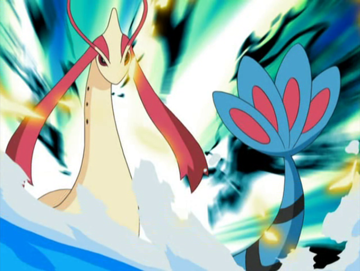 Milotic is an extremely powerful Pokémon in Lucy's possession. It defeated Donphan with one Hydro Pump. It then had the edge against Pikachu with all its powerful moves like Twister, Iron Tail, and Facade until Pikachu used the energy from a twister to give Milotic an extremely powerful Volt Tackle.