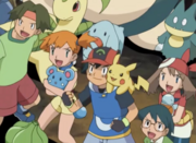 Ash with two of his Original and Hoenn companions