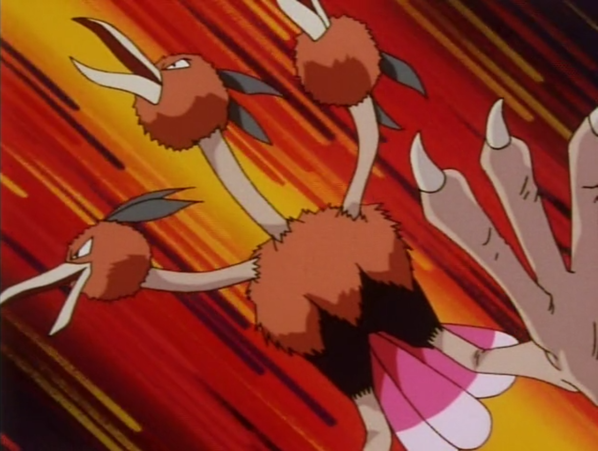 While Dodrio cannot fly, Falkner trained it well, as it jumps high in the sky.