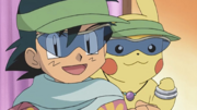 Ash and Pikachu with glasses