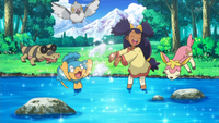 Little Iris plays with Pokemon