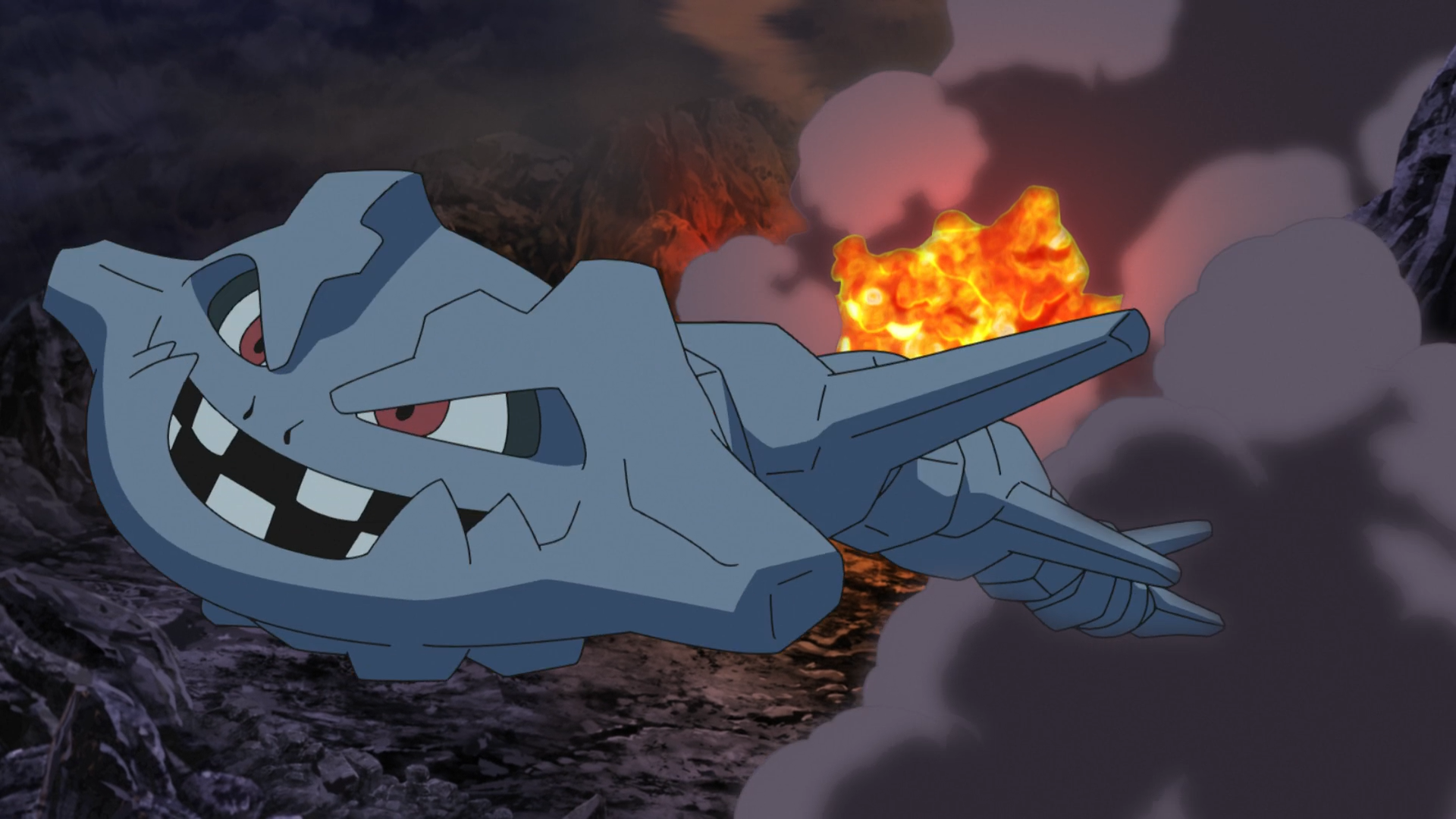 After Brock left Onix in the Pewter Gym, Forrest raised it and evolved it into Steelix.