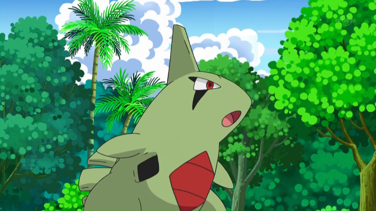 Larvitar played with Chris' Cubchoo. Because Larvitar was Cubchoo's friend, Chris proposed Larvitar could join him. It battled Ash's Scraggy and the match ended in a draw.