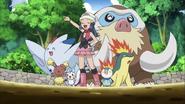Dawn and her Pokémon team