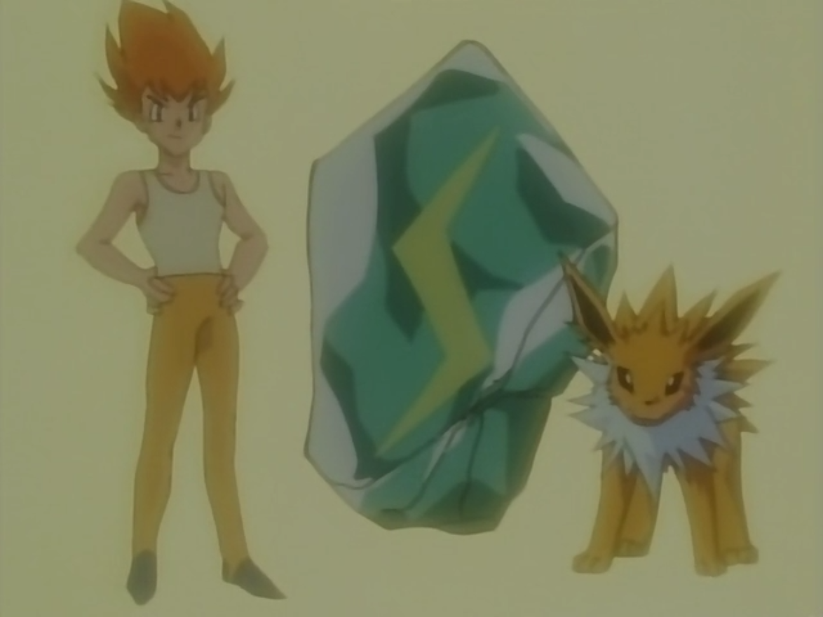 Sparky evolved his Eevee into a Jolteon using a Thunder Stone.