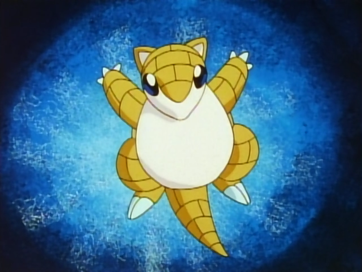 Sandshrew is A.J.'s first Pokémon. Through strict training, A.J.'s Sandshrew has become powerful enough to defeat 100 opponents. After doing so, A.J. left to take on Kanto gyms.