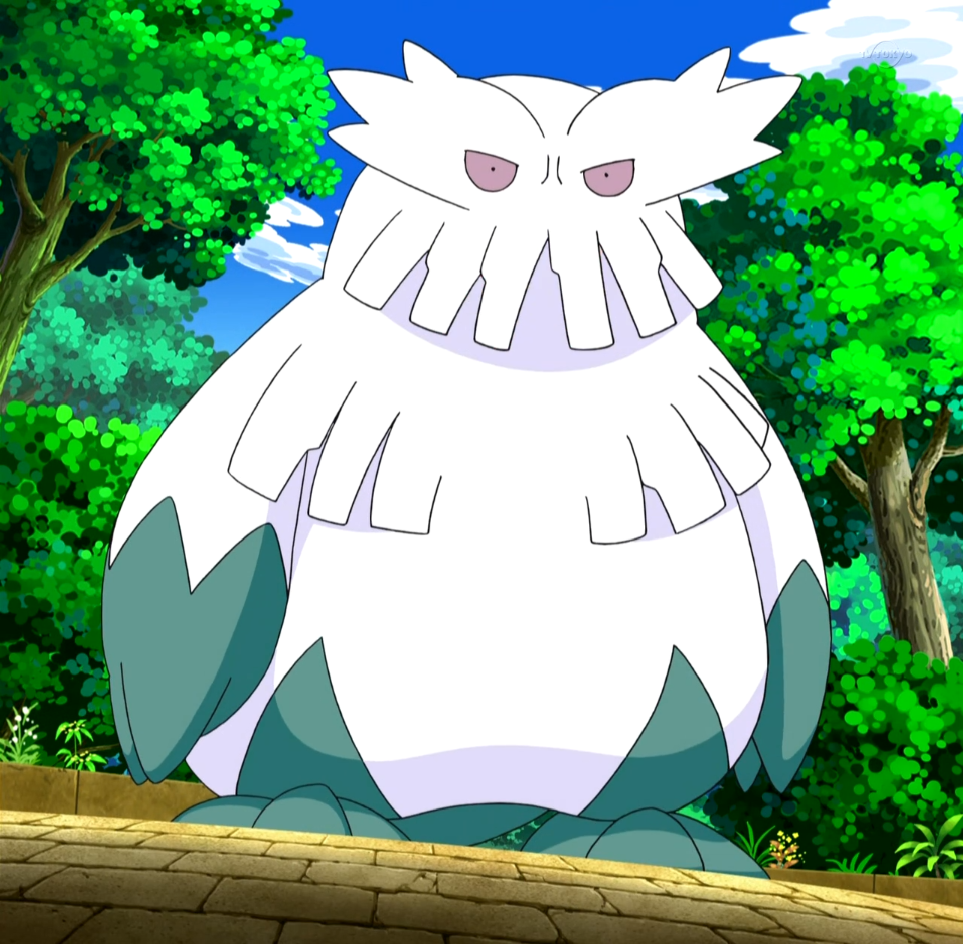 Morana sent Abomasnow to battle Cilan's Pansage at a Decolore Island, but was defeated.