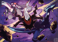 Darkrai attacking Dialga and Palkia