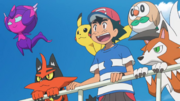 Ash, Pikachu, Poipole, Rowlet, Torracat and Lycanroc
