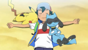 Ash with Pikachu and Riolu