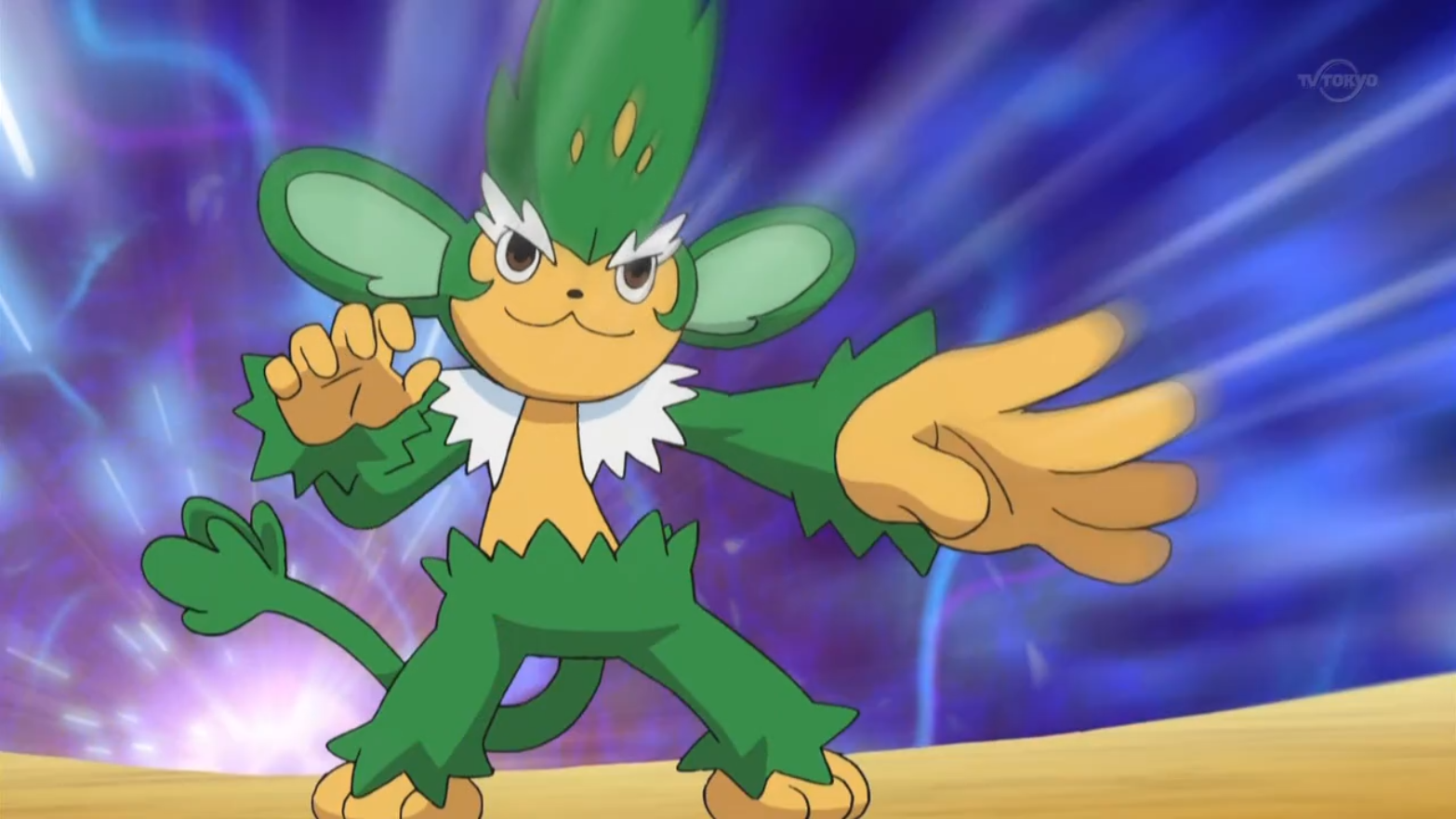 Angus sent Simisage to battle Ash's Scraggy. Despite the offensive moves, Simisage was defeated by Scraggy.