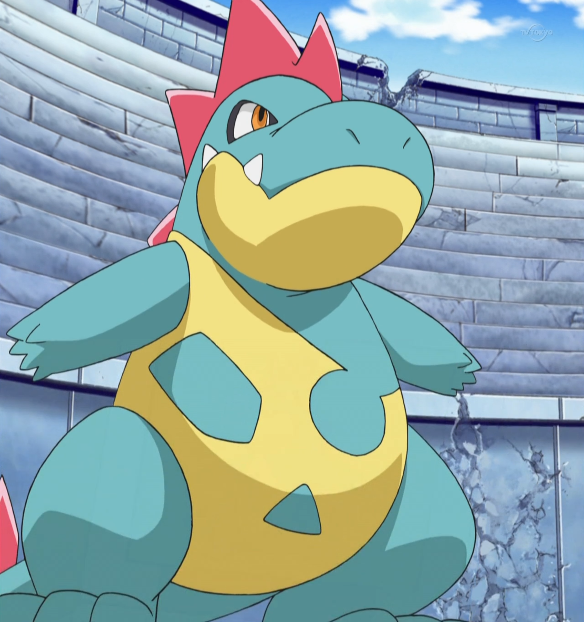 Croconaw was originally a Totodile when he got it. It evolved in a Tag Battle but it lost to Monferno's Mach Punch.