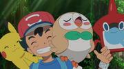 Ash, Pikachu, Rowlet and Rotom