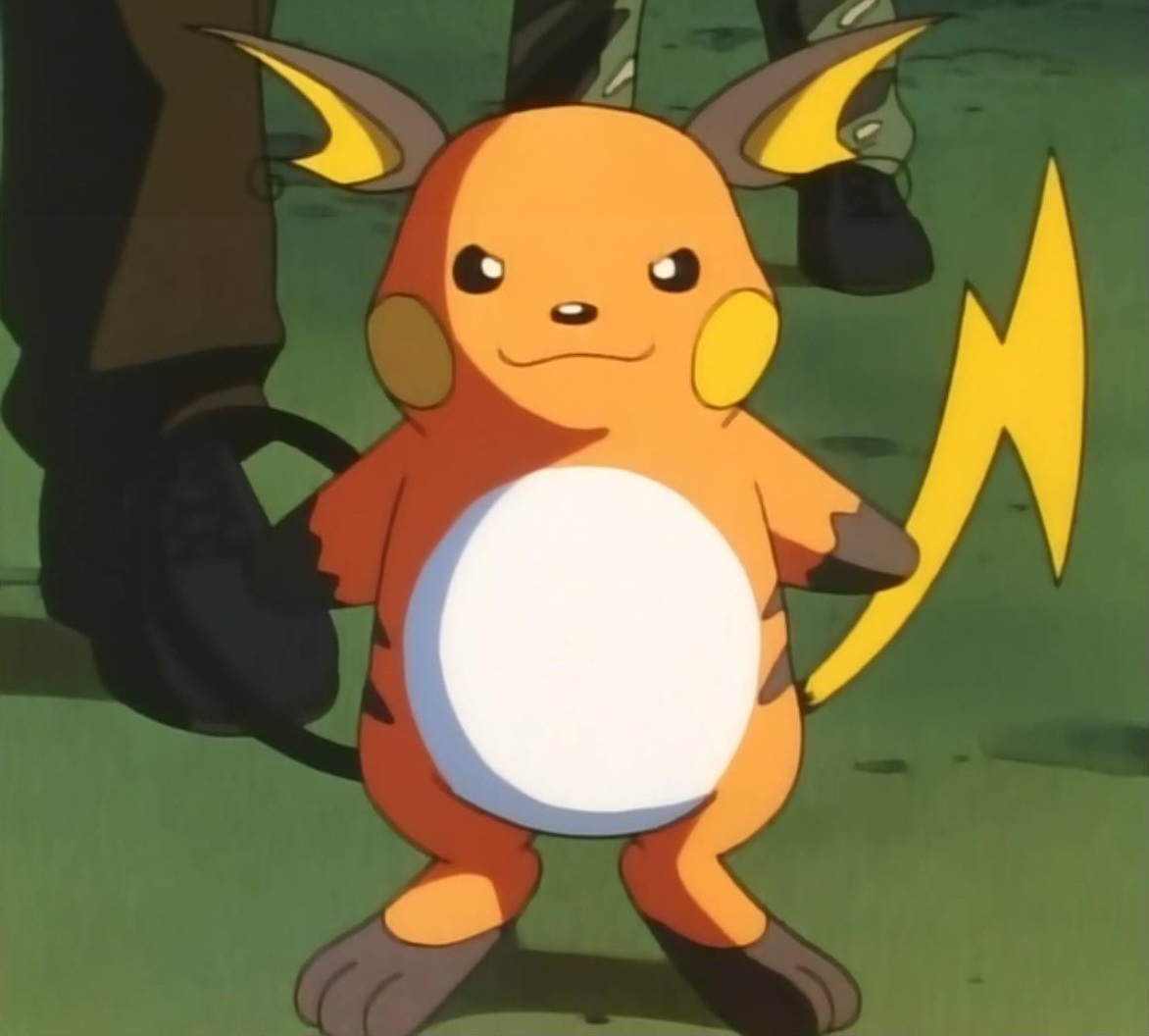 Lt. Surge used Raichu to battle Ash. Lt. Surge used a Thunder Stone to evolve his Raichu for new moves, though Raichu's speed is limited.