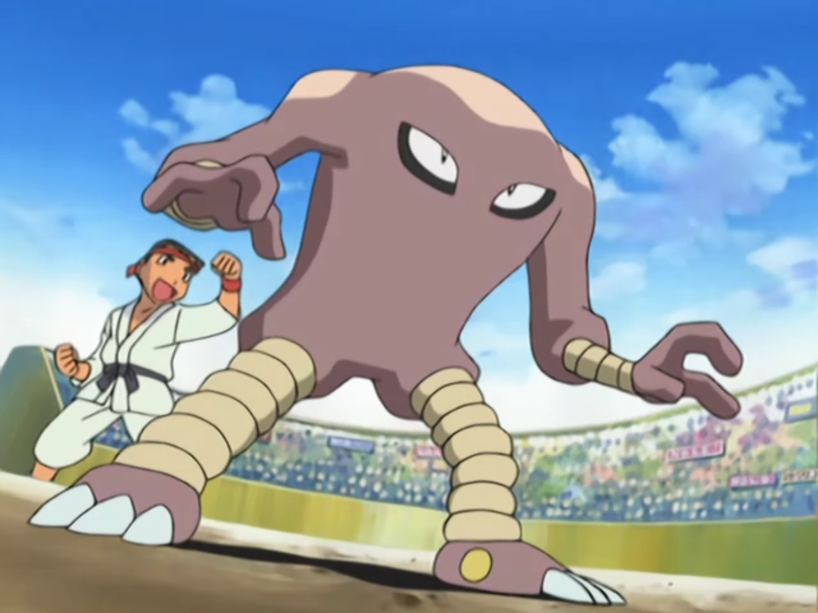 Gilbert's Hitmonlee battled against Ash's Pikachu during the preliminary rounds of the Ever Grande Conference. Hitmonlee was no match for Pikachu and Gilbert was eliminated from the tournament.