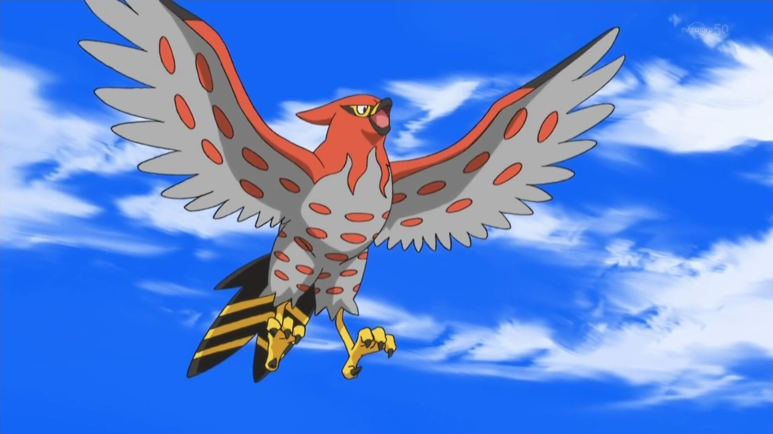 Moria used her Talonflame in a battle against a Sky Trainer's Skarmory. Ash then challenged her for a battle against his Hawlucha. Talonflame was able to defeat Ash's Hawlucha but was later defeated by Ash's newly evolved Fletchinder.