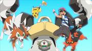 Ash, Pikachu, Rowlet, Melmetal, Torracat and Lycanroc