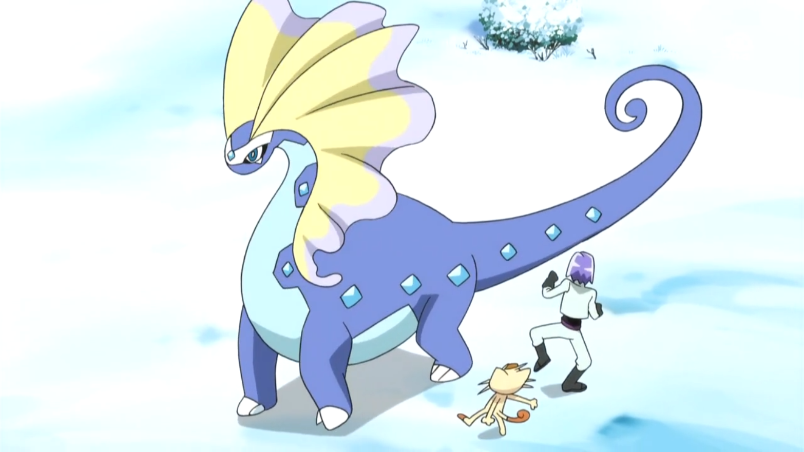 Aurorus was revived from a fossil, along with Amaura. When Amaura was lost, Aurorus went to search after it and defeated Team Rocket upon finding Amaura.