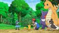 Ash, Pikachu, Dragonite, Gengar, Riolu, and Farfetch'd