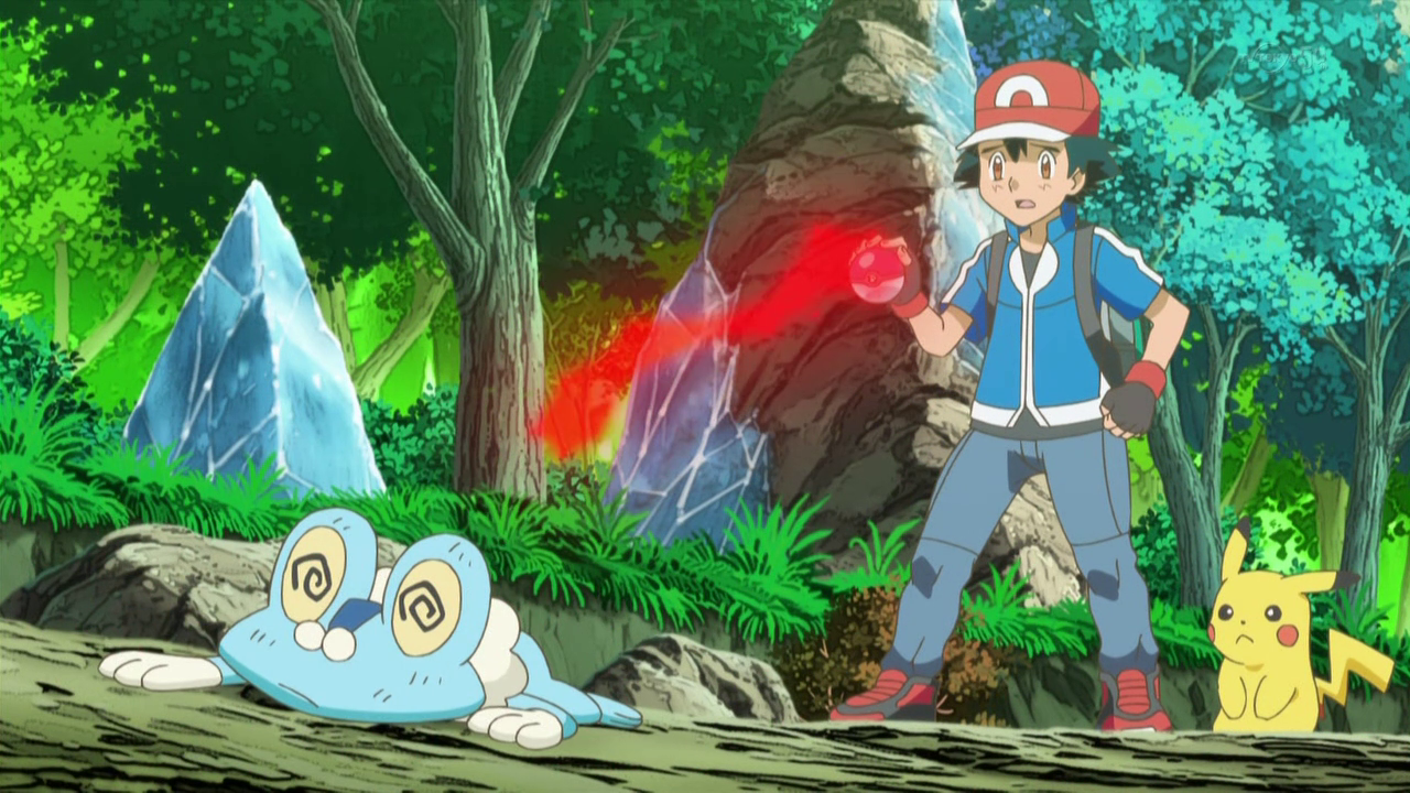 A Pokémon owned by Mirror Ash. It is shown to be the opposite of Ash's Froakie as it is very weak, though it is only seen after it lost a battle to Mirror Serena's Fennekin.