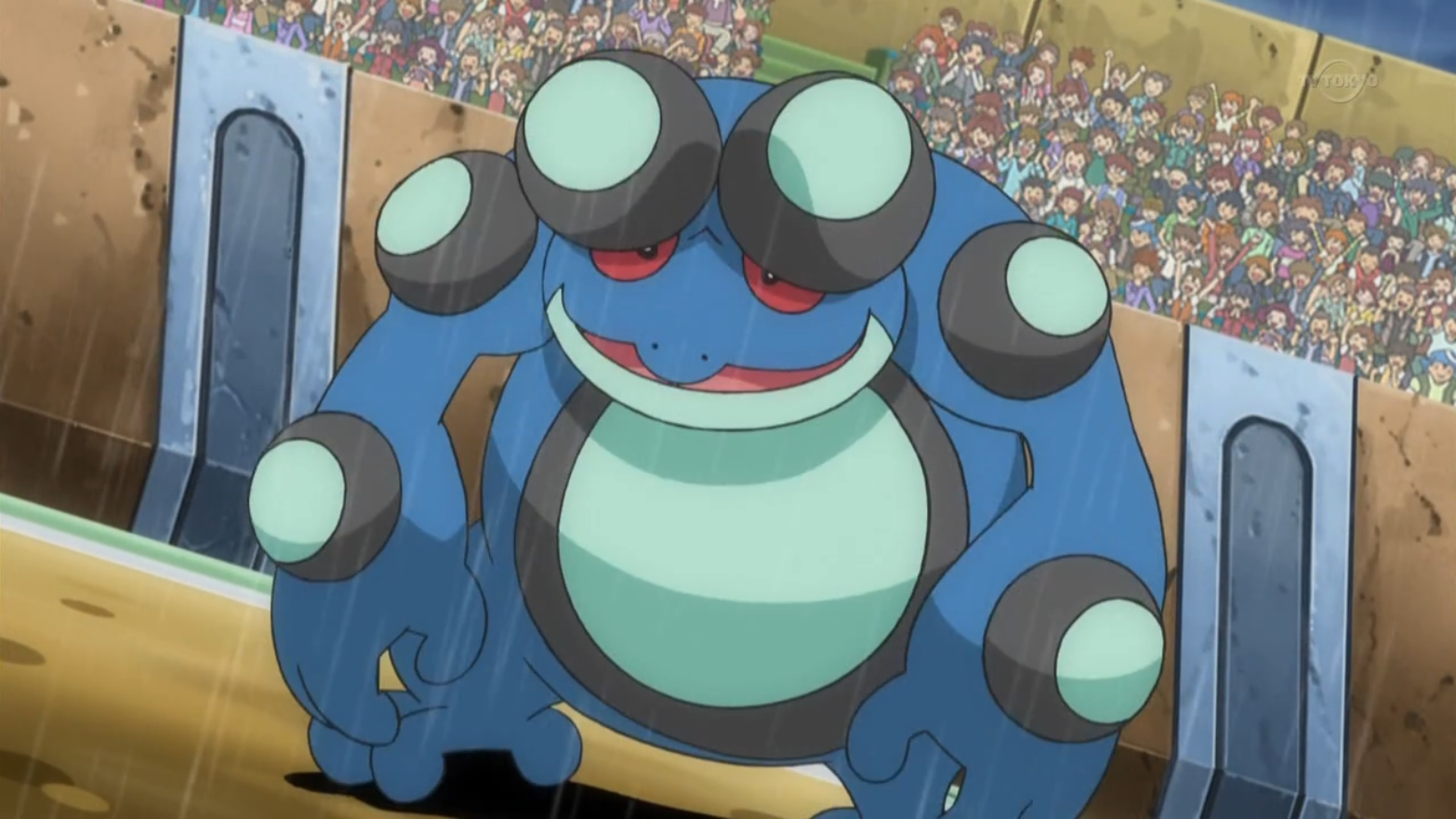 Edmund sent Seismitoad to battle Sawk. Seismitoad tried to empower itself using Rain Dance, but Sawk hit its legs, causing its Swift Swim ability to be neutralized and it was soon defeated.