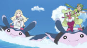 Lillie, Mallow and Pokémon partners surfing