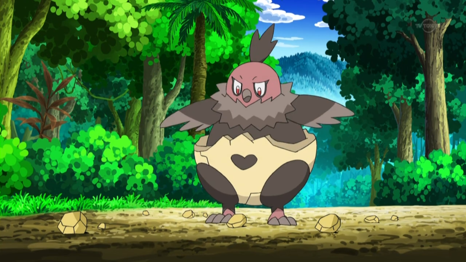 Vullaby, along with Rufflet, were the Pokémon Layla takes care about. However, due to their differences and disagreements, Vullaby and Rufflet often fought each other. Vullaby was more harsh and tougher than Rufflet.