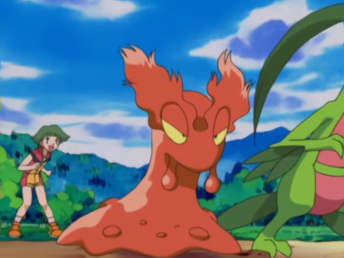 Natasha sent Slugma and Grovyle in a Double Battle against Ash's Corphish and Treecko.