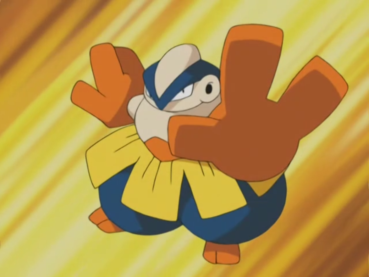 Hariyama first appeared in Brave the Wave as a Makuhita. Like Brawly, Makuhita also enjoys surfing the waves. It evolved in order to defeat Ash's Treecko. During Brawly and Ash's rematch, Hariyama was defeated by Treecko.