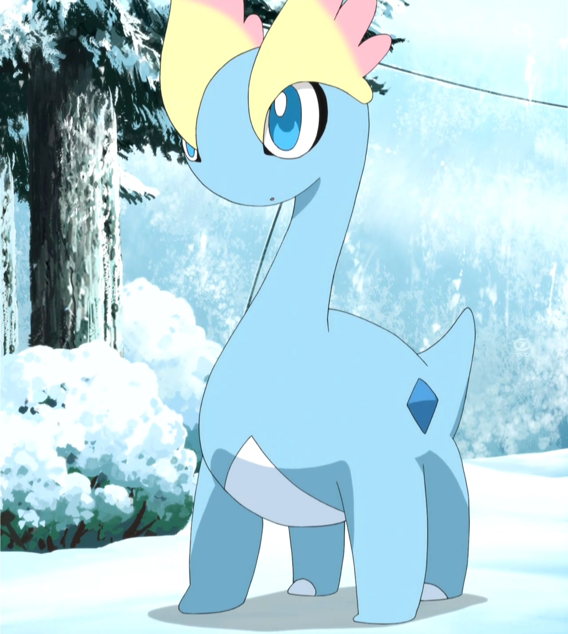 Amaura was revived from a fossil, along with Aurorus. When Team Rocket stole Amaura, Amaura emitted Aurora Borealis to led the heroes into finding it.