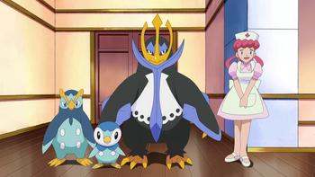 Пиплап и его эволюции в аниме