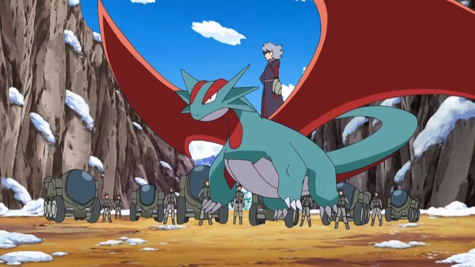 Salamence was J's main Pokémon. It was used for transport when she's on-field but also to brutally attack any interference with Hyper Beam and Flamethrower.