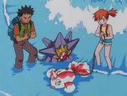 Misty with Goldeen, Starmie and Brock