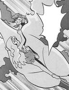 Karen clinging onto Moltres' underside