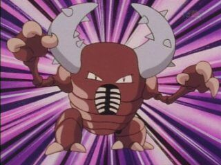 Pinsir was a huge bug Pokémon that was scary. Ash thought he had the edge with his Pidgeotto but Pinsir knocked it out in one blow. It tried to win the battle with Metapod but after it used Harden, the spikes on its horns broke.