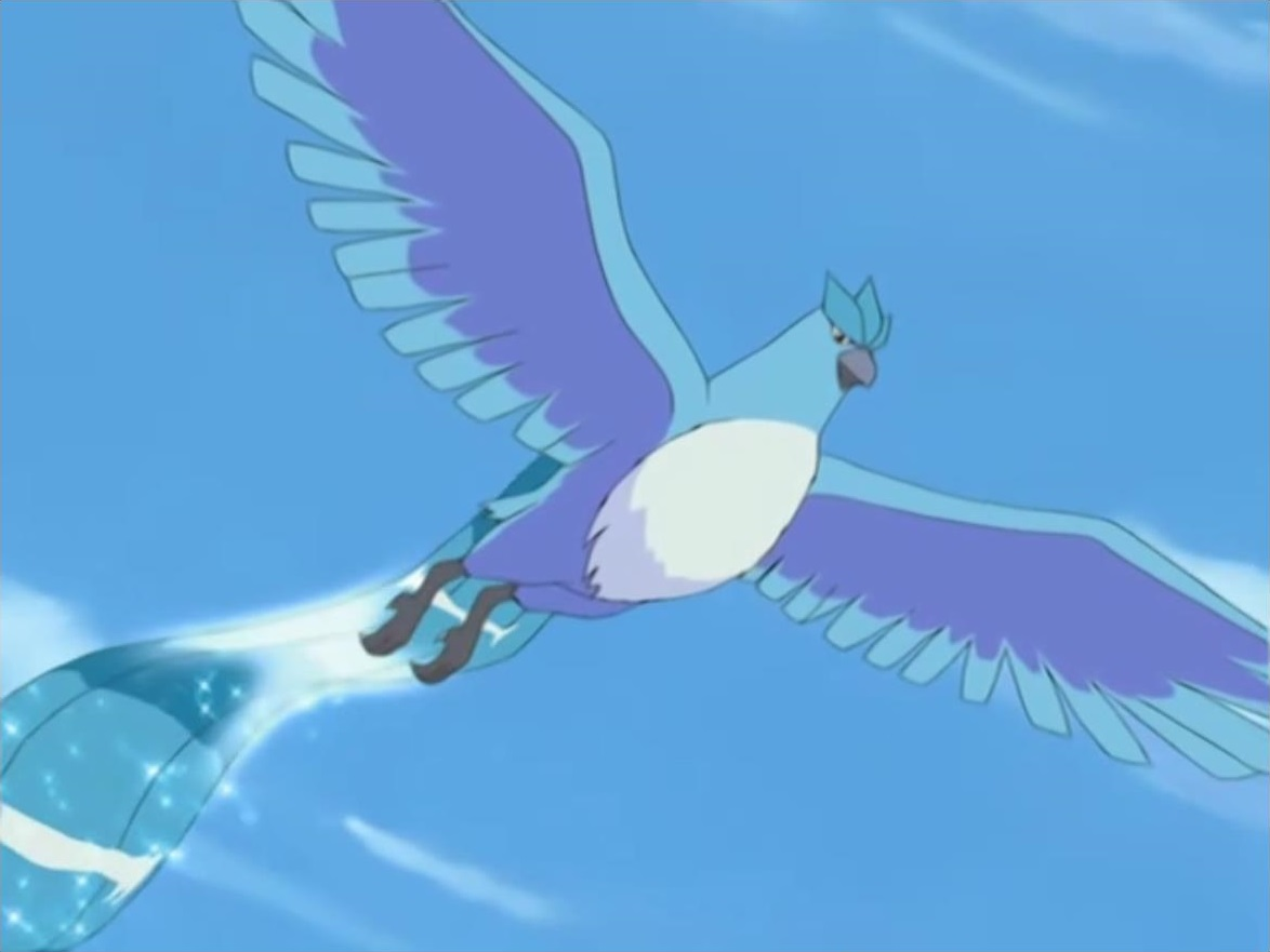 Noland used Articuno to fight against Charizard. In the end, Ash's Charizard defeated Articuno.