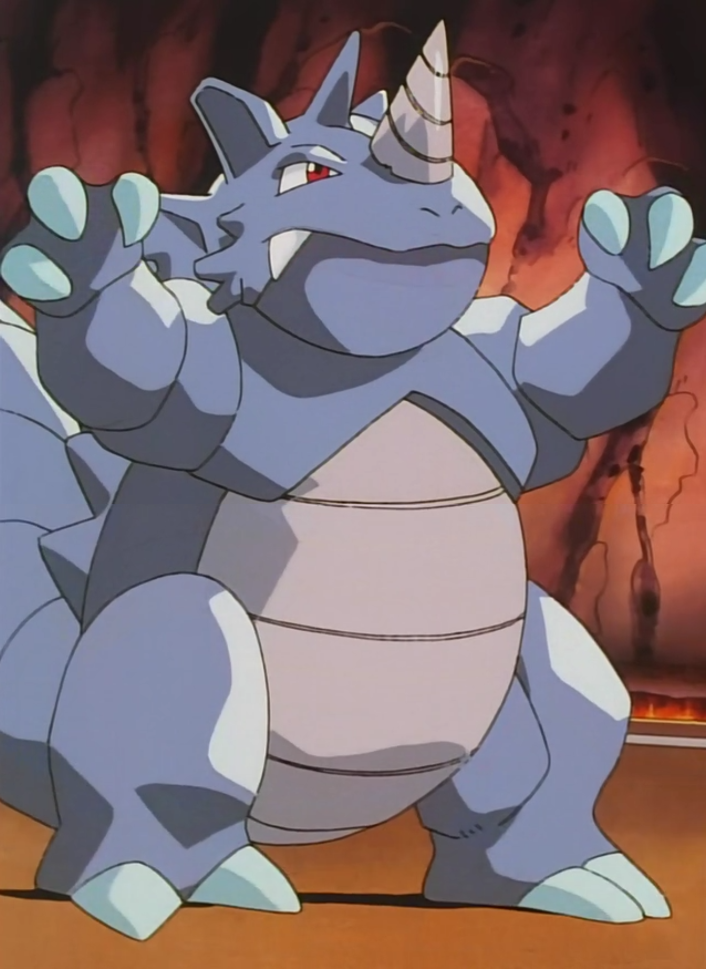 Rhydon was the second Pokémon Blaine used in his Gym Battle with Ash. It won against Ash's Charizard when it left the ring but lost to Pikachu when it shocked its horn like a lightning rod.
