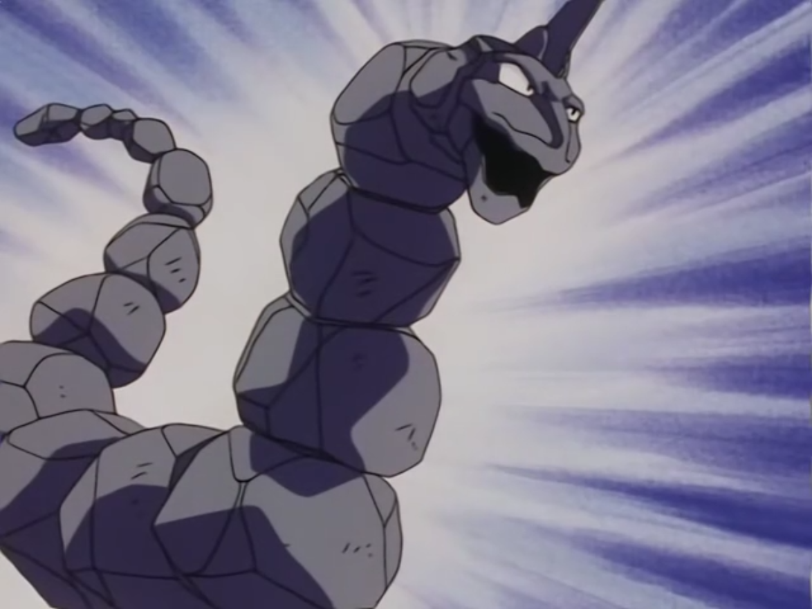 Onix was the second Pokémon that Drake used in his battle with Ash. It was a powerhouse but was absolutely no match for Ash's Squirtle, who beat it with the newly learned Hydro Pump.