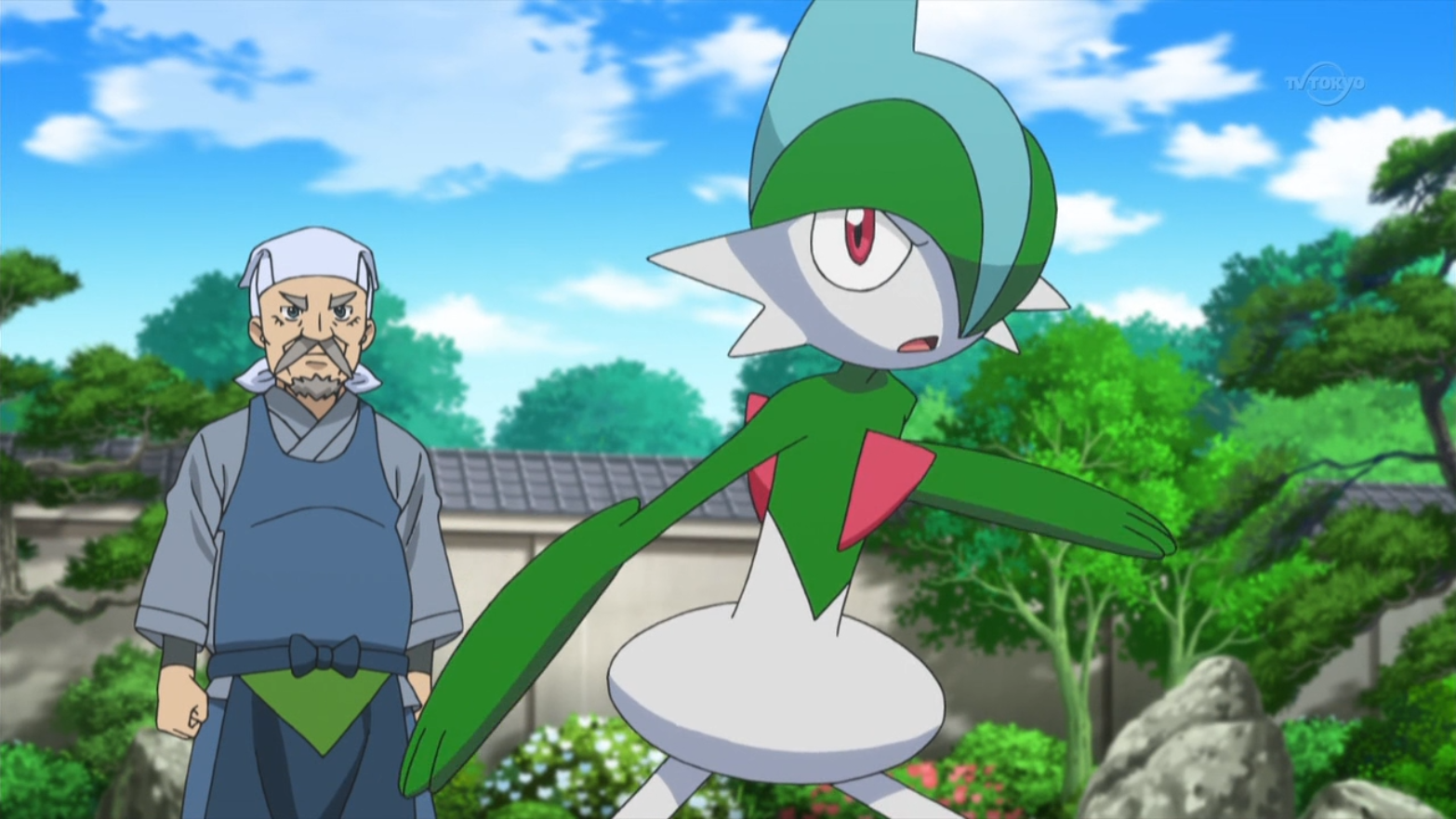 Woodward is accompanied with Gallade, who was used to battle Braixen.