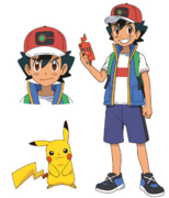 Ash Journeys outfit with Pikachu