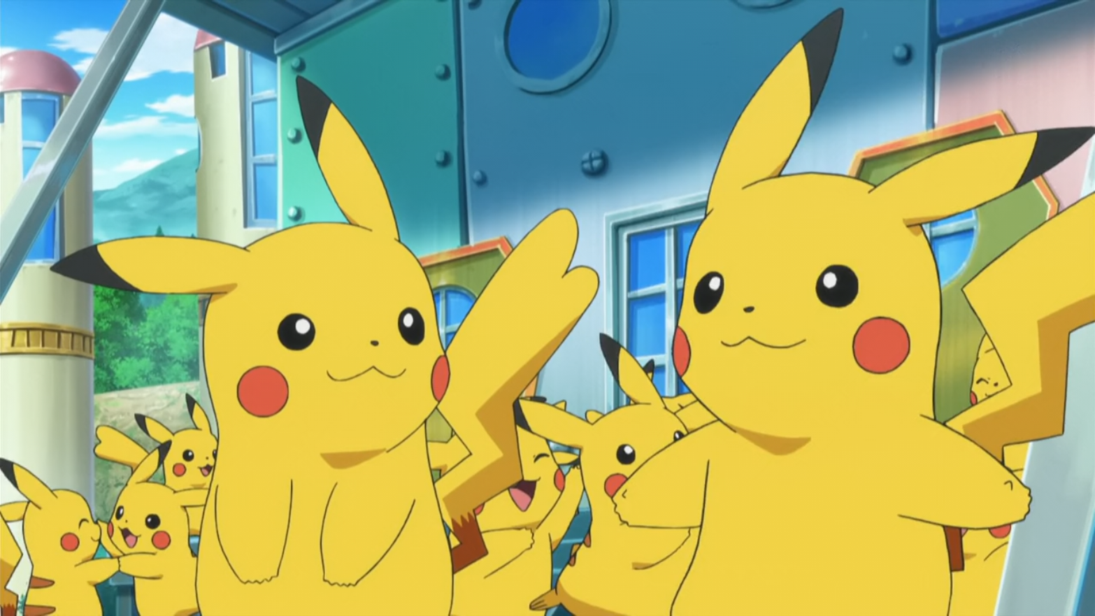 Frank had many Pikachu, who acted as actors, from which five wore matching costumes.