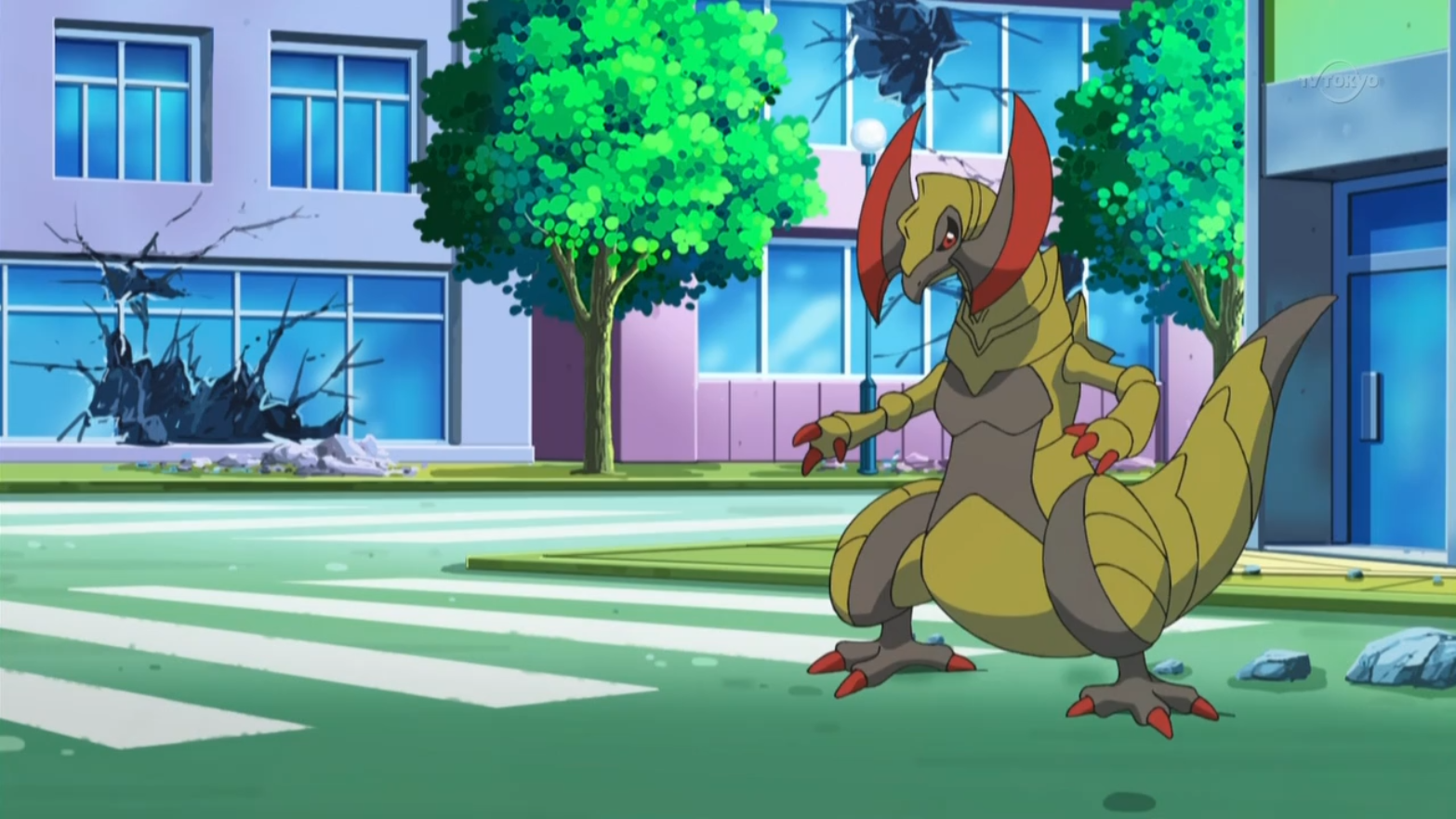 Haxorus was first seen going berserk due to being under the manipulation of Colress' mind controlling radio waves. Iris tried to have Dragonite battle Haxorus, but he also went under Colress' control. N tried to communicate with Haxorus and Dragonite to try and calm them down, but ended up getting hurt in the process. After Colress' machine was destroyed, Haxorus and Dragonite returned to normal.