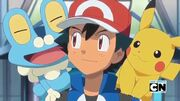 Froakie, Ash and Pikachu