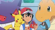 Ash, Pikachu, Dragonite, Gengar and Riolu
