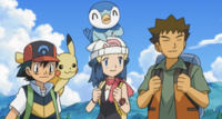 Ash with his Sinnoh and Original companion
