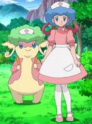 Curly-wigged Nurse Joy and Audino