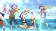 Ash, Dawn, Chloe, Goh and their Pokémon
